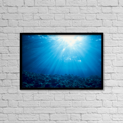 "Printscapes Wall Art: 18"" x 12"" Canvas Print With Black Frame - Hawaii, Sunburst Over Shallow Reef, B1902 by Dave Fleetham"