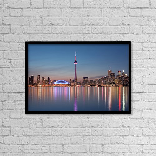 "Printscapes Wall Art: 18"" x 12"" Canvas Print With Black Frame - Skyline At Night, Toronto, Ontario, July 2007 by Peter Mintz"