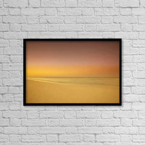 "Printscapes Wall Art: 18"" x 12"" Canvas Print With Black Frame - Sunset On Cable Beach, Nassau, Bahamas by Geoff George"