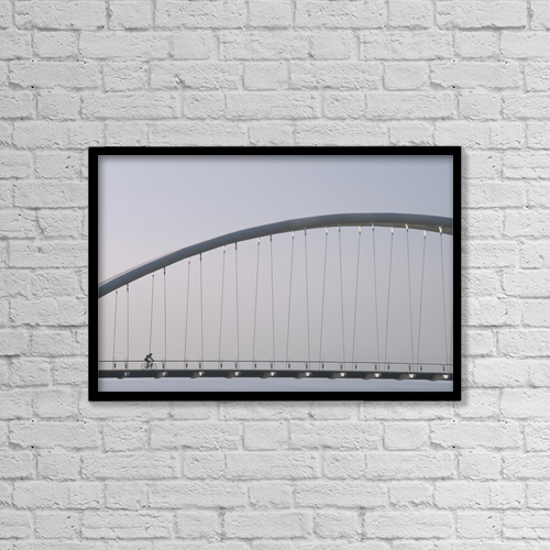 "Printscapes Wall Art: 18"" x 12"" Canvas Print With Black Frame - Humber River Bridge, Toronto, Ontario by Alan Sirulnikoff"