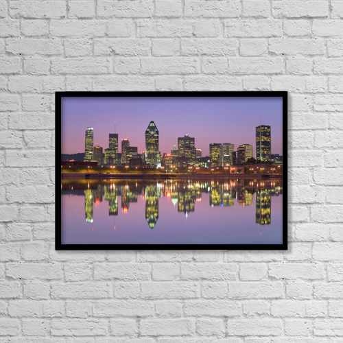 "Printscapes Wall Art: 18"" x 12"" Canvas Print With Black Frame - Skyline At Twilight, Montreal, Quebec by Yves Marcoux"