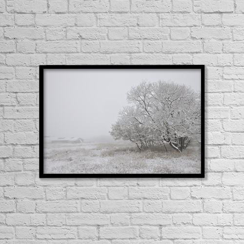 "Printscapes Wall Art: 18"" x 12"" Canvas Print With Black Frame - Foggy Winter Morning On Farm, Central Alberta by Dan Jurak"
