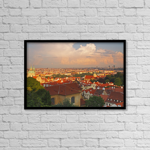 "Printscapes Wall Art: 18"" x 12"" Canvas Print With Black Frame - View Of Prague Rooftops From Castle Hill by Trish Punch"