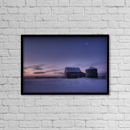 "Printscapes Wall Art: 18"" x 12"" Canvas Print With Black Frame - Winter Sunrise Over A Silo And Barn, Alberta by Dan Jurak"