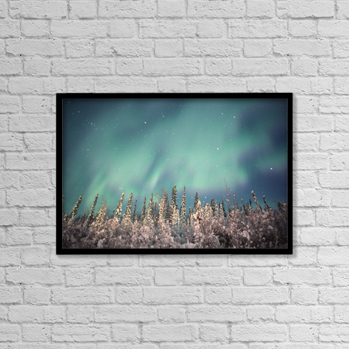 "Printscapes Wall Art: 18"" x 12"" Canvas Print With Black Frame - Northern Lights, Dempster Highway, Yukon by Robert Postma"