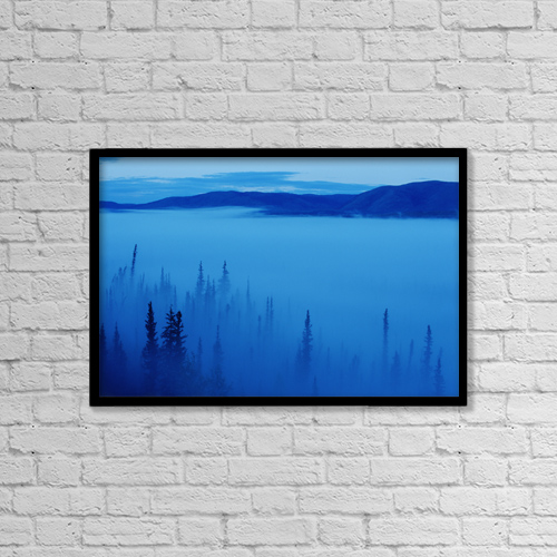 "Printscapes Wall Art: 18"" x 12"" Canvas Print With Black Frame - Fog At Dawn, Stewart Crossing, Yukon by Mike Grandmaison"