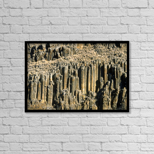 "Printscapes Wall Art: 18"" x 12"" Canvas Print With Black Frame - Columnar Basalt, British Columbia, Canada by David Nunuk"