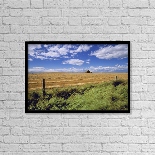 "Printscapes Wall Art: 18"" x 12"" Canvas Print With Black Frame - Farmland Near Cremona, Alberta, Canada by Darwin Wiggett"