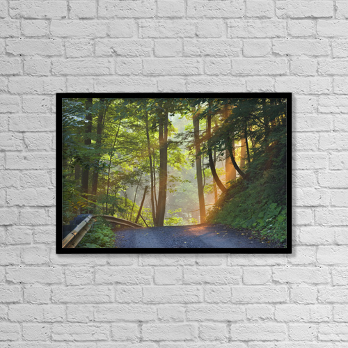 """Printscapes Wall Art: 18"""" x 12"""" Canvas Print With Black Frame - Gravel Road At Sunrise, Pelham, Ontario by Darwin Wiggett"""