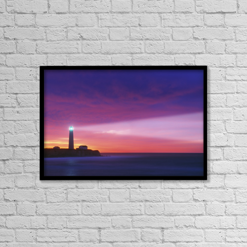"Printscapes Wall Art: 18"" x 12"" Canvas Print With Black Frame - Cap-Des-Rosiers Lighthouse, Quebec, Canada by Darwin Wiggett"