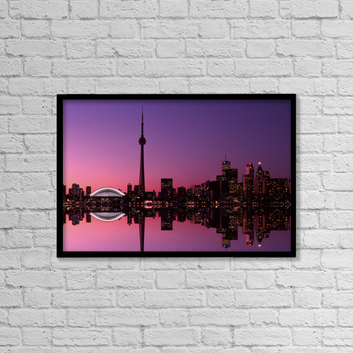 "Printscapes Wall Art: 18"" x 12"" Canvas Print With Black Frame - Toronto Skyline At Sunset, Toronto, Ontario by Alan Marsh"