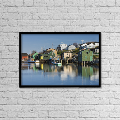 "Printscapes Wall Art: 18"" x 12"" Canvas Print With Black Frame - Shaw's Landing At West Dover. Nova Scotia by Darwin Wiggett"