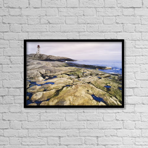 "Printscapes Wall Art: 18"" x 12"" Canvas Print With Black Frame - Peggy's Cove Lighthouse, Nova Scotia by Darwin Wiggett"