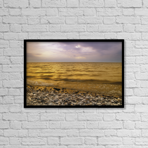 "Printscapes Wall Art: 18"" x 12"" Canvas Print With Black Frame - Lake Winnipeg, Manitoba, Canada by Darwin Wiggett"