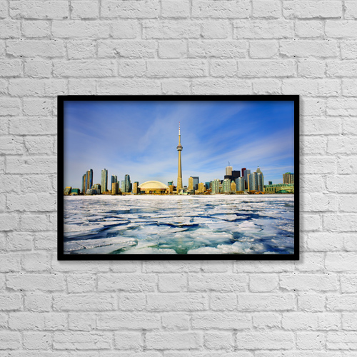 "Printscapes Wall Art: 18"" x 12"" Canvas Print With Black Frame - Toronto Skyline In Winter by Peter Mintz"