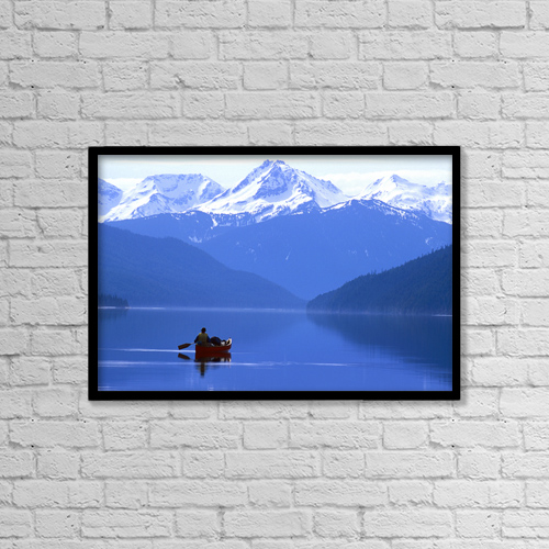 "Printscapes Wall Art: 18"" x 12"" Canvas Print With Black Frame - Canoeist, Bowron Lake Park, British Columbia by Chris Harris"