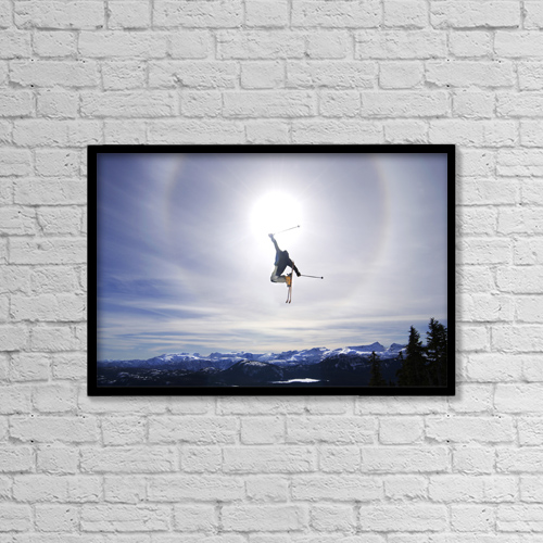 "Printscapes Wall Art: 18"" x 12"" Canvas Print With Black Frame - Skier Jumping, Courtenay, Bc by Josh McCulloch"