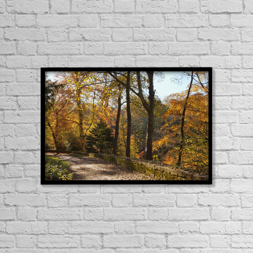 "Printscapes Wall Art: 18"" x 12"" Canvas Print With Black Frame - A Path Lined With Trees In Autumn Colours by John Short"