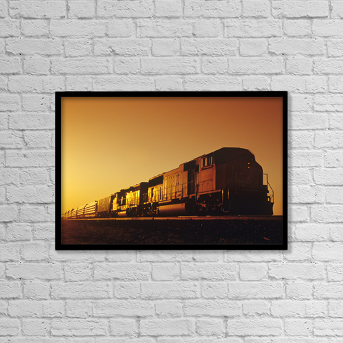 "Printscapes Wall Art: 18"" x 12"" Canvas Print With Black Frame - Train At Sunrise, Near Winnipeg, Manitoba by Dave Reede"
