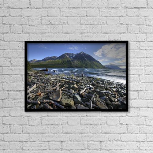 "Printscapes Wall Art: 18"" x 12"" Canvas Print With Black Frame - Kathleen Lake, Kluane National Park, Yukon by Robert Postma"