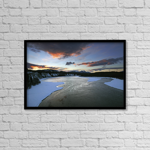 "Printscapes Wall Art: 18"" x 12"" Canvas Print With Black Frame - Sunrise Over The Teslin River, Yukon by Robert Postma"