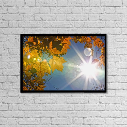 "Printscapes Wall Art: 18"" x 12"" Canvas Print With Black Frame - Fall Colors And Sunshine, Ontario by Robert Postma"