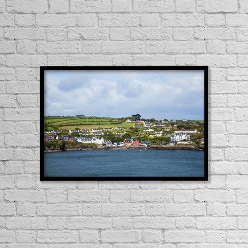 "Printscapes Wall Art: 18"" x 12"" Canvas Print With Black Frame - A Town On The Coast Near Kinsale by Peter Zoeller"