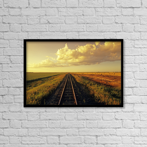 "Printscapes Wall Art: 18"" x 12"" Canvas Print With Black Frame - Railway Through Farmland, Near Carey, Manitoba by Dave Reede"