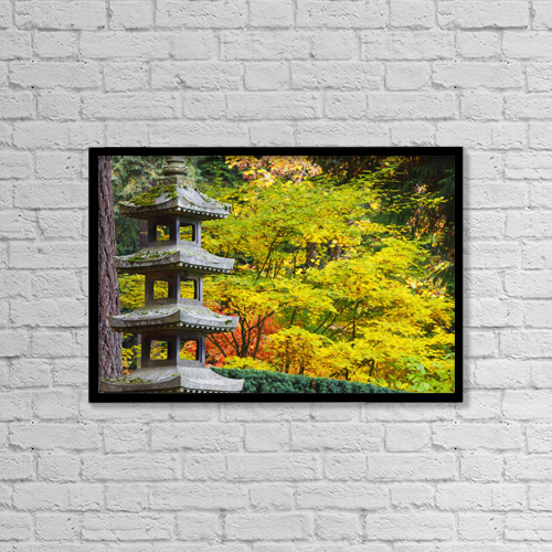 "Printscapes Wall Art: 18"" x 12"" Canvas Print With Black Frame - Autumn Colours At The Japanese Garden by Craig Tuttle"