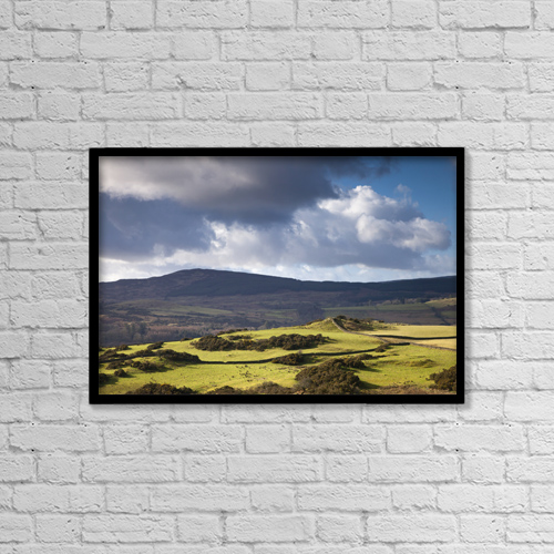 """Printscapes Wall Art: 18"""" x 12"""" Canvas Print With Black Frame - Clouds Over The Mountains; Dumfries Scotland by John Short"""