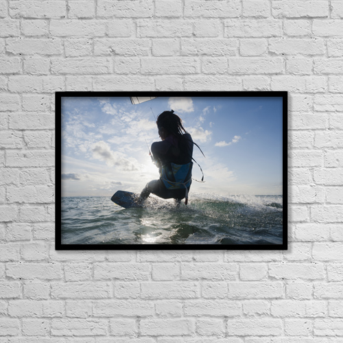 """Printscapes Wall Art: 18"""" x 12"""" Canvas Print With Black Frame - Kitesurfing; Tarifa, Cadiz, Andalusia, Spain by Ben Welsh"""