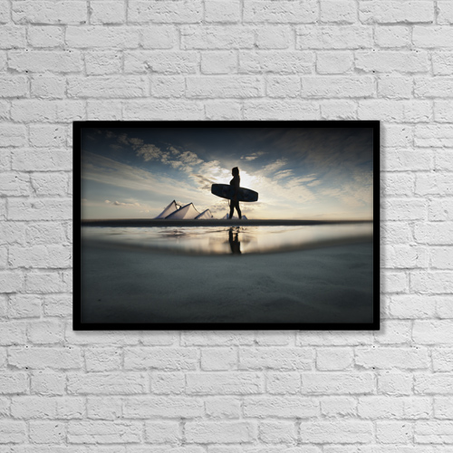 """Printscapes Wall Art: 18"""" x 12"""" Canvas Print With Black Frame - A Kitesurfer Walks Along The Beach At Sunset by Ben Welsh"""