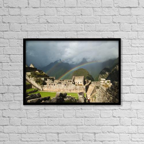 "Printscapes Wall Art: 18"" x 12"" Canvas Print With Black Frame - Machu Picchu, Peru by Emily Riddell"