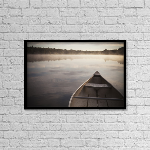 "Printscapes Wall Art: 18"" x 12"" Canvas Print With Black Frame - Canoe In Morning Fog On Duck Lake by Katy Huisman"