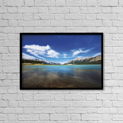 "Printscapes Wall Art: 18"" x 12"" Canvas Print With Black Frame - Abraham Lake; Alberta Canada by Steve Nagy"