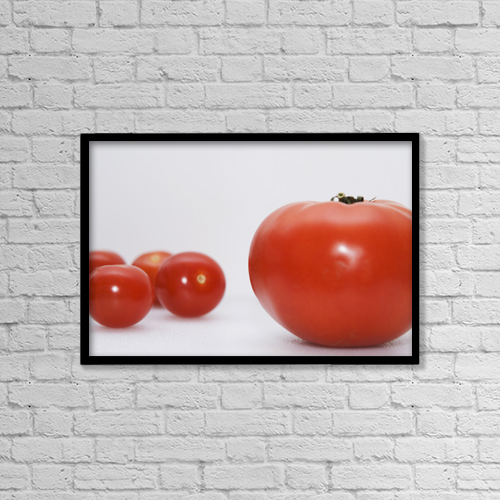 "Printscapes Wall Art: 18"" x 12"" Canvas Print With Black Frame - Little Tomatoes And One Big Tomato by Marlene Ford"