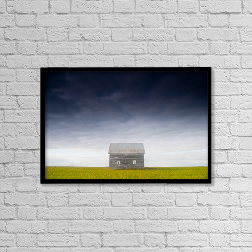 "Printscapes Wall Art: 18"" x 12"" Canvas Print With Black Frame - Old House, Manitoba, Canada by Mirek Weichsel"