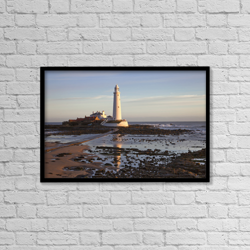 "Printscapes Wall Art: 18"" x 12"" Canvas Print With Black Frame - Lighthouse On St by John Short"