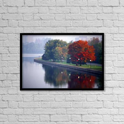 "Printscapes Wall Art: 18"" x 12"" Canvas Print With Black Frame - H.Nowell; Rideau Canal by Harry Nowell"