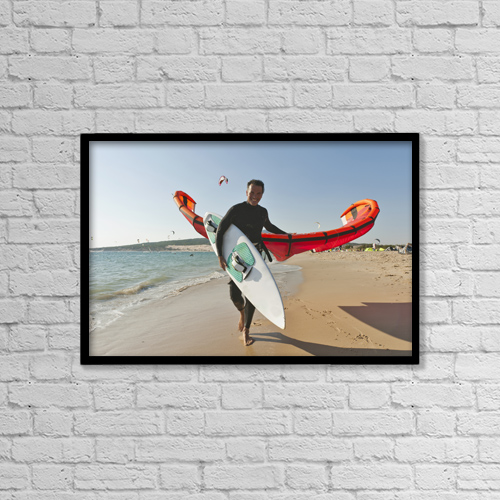 "Printscapes Wall Art: 18"" x 12"" Canvas Print With Black Frame - Kitesurfer On The Beach by Ben Welsh"