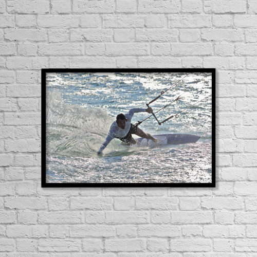 "Printscapes Wall Art: 18"" x 12"" Canvas Print With Black Frame - Kitesurfing; Tarifa Cadiz Andalusia Spain by Ben Welsh"