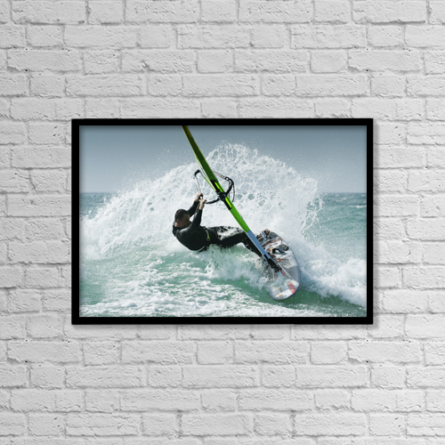 "Printscapes Wall Art: 18"" x 12"" Canvas Print With Black Frame - Windsurfing; Tarifa Cadiz Andalusia Spain by Ben Welsh"