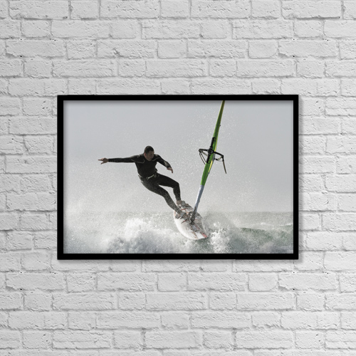 "Printscapes Wall Art: 18"" x 12"" Canvas Print With Black Frame - Windsurfing; Tarifa, Cadiz, Andalusia, Spain by Ben Welsh"