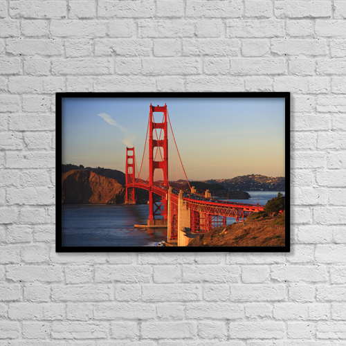 "Printscapes Wall Art: 18"" x 12"" Canvas Print With Black Frame - Golden Gate Bridge by Stuart Westmorland"