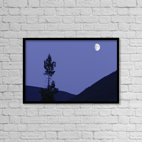 "Printscapes Wall Art: 18"" x 12"" Canvas Print With Black Frame - View Of Moon And Mountains, Gaspesie, Quebec by Yves Marcoux"