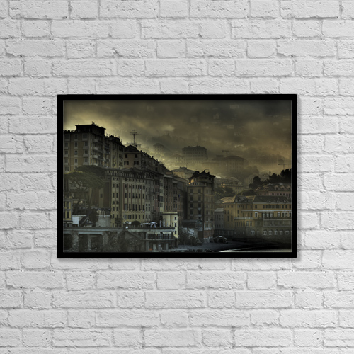 "Printscapes Wall Art: 18"" x 12"" Canvas Print With Black Frame - Early Morning In Camogli, Italy by Richard Desmarais"