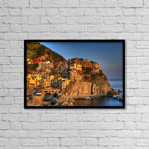 "Printscapes Wall Art: 18"" x 12"" Canvas Print With Black Frame - Sunset On Manarola, Italy by Richard Desmarais"