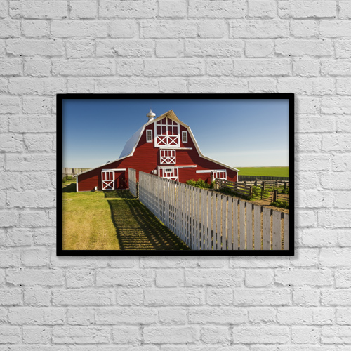 "Printscapes Wall Art: 18"" x 12"" Canvas Print With Black Frame - Farm Structures by Dave Reede"