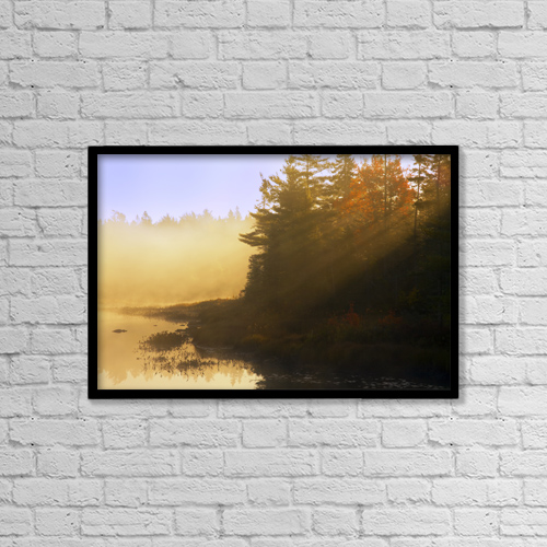 "Printscapes Wall Art: 18"" x 12"" Canvas Print With Black Frame - Mist At Sunrise, Soldier Lake, Nova Scotia by Irwin Barrett"