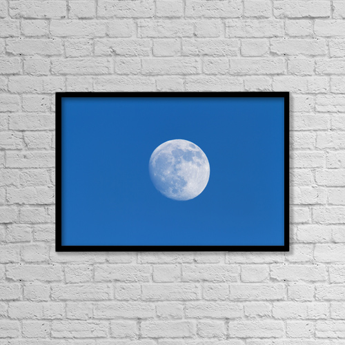 "Printscapes Wall Art: 18"" x 12"" Canvas Print With Black Frame - Full Moon by Philippe Henry"